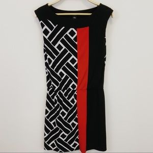WHBM Color Blocked Geometric Print Midi Dress - S